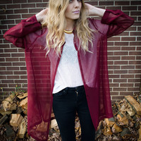Vintage Red Burgungy Sheer Oversized Button Up by RepeatClothing