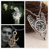 Supernatural Necklace Pentagram Castiel Wings Angel pendant necklace