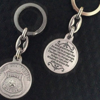 Serenity Prayer Serve and Protect Keychain Medal Silver Key Ring Protection Police Officer Gift Inspirational Jewelry