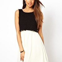 TFNC Skater Dress With Lace Layer at asos.com