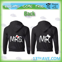 mickey minnie mouse disney matching couple shirts, mr and mrs with your date, 002