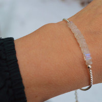 "READY to SHIP Sterling Silver Moonstone Bracelet with 1"" extension with Moonstone accent 2-3 day USPS Priority Shipping"