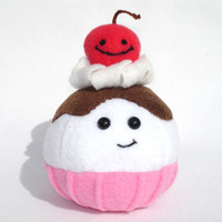 Pretend food plush toy ice cream scoop and cherry friend