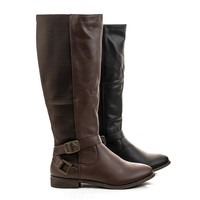 Jayne13 Knee High Elastic Fabric Insert Moto Riding Boots