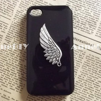 wing metal iPhone case, angel's wing iPhone 5 case, iPhone 4s case with wings, handmade iPhone 4 cases, brithday gift case