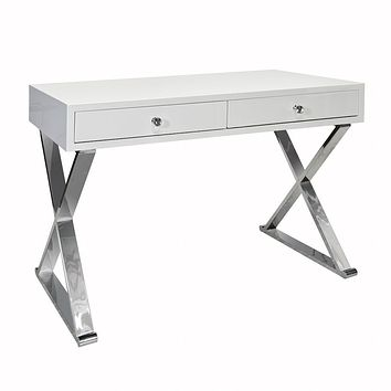 Jared White 2-Drawer Desk with Stainless Steel Base