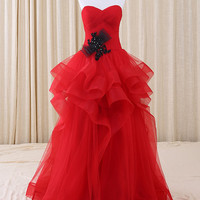 Strapless Red Tulle Ruffles Prom Formal Evening Dress   RS3011