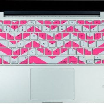 """Kuzy - Pink Chevron Zig-Zag Keyboard Cover for MacBook Pro 13"""" 15"""" 17"""" (with or w/out Retina Display) iMac and MacBook Air 13"""" Silicone Skin - Pink"""