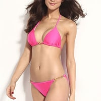 Light Pink Halterneck Bikini with Metal Chain Accent