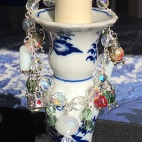 One of a Kind Glass Bead Bracelet with Crystal Teapot Charms