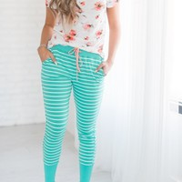Mint Striped Loungers