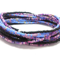 3 Stretch seed bead wrap bracelets, stacking, beaded, boho anklet, bohemian, stretchy stackable multi strand, pink, purple, blue, black