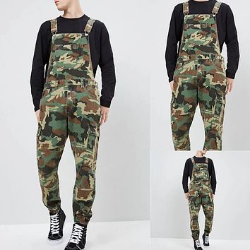 Men's Long Pants Camouflage Strap Overalls