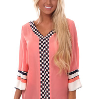 Peach Blouse with Unique Navy Print Collar