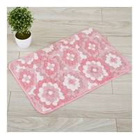 Thick Coral Fleece Ground Floor Foot Door Mat pink flowers