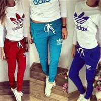 "2017 Top Pants Trousers ""Adidas"" Sweatpants Set Two-Piece Sportswear"