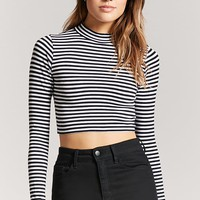 Stripe Mock Neck Crop Top