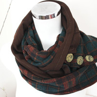 Men handmade scarf, Men's plaid scarves, Button Men loop scarves, Alloy Orange, Green Brown men's scarves, Men's infinity scarf, Earth color