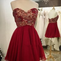 Burgundy Homecoming Dress, Burgundy Lace Homecoming Dress