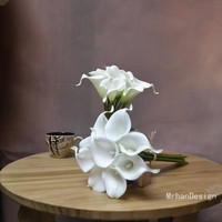 White Real Touch Calla Lily Silk Bridal Bouquets Bridesmaids Bouquets Real Touch Flowers Party Supplies Table Centerpieces