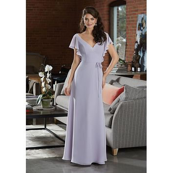 Morilee Bridesmaids 21591 Deep V-Neckline with Flutter Sleeves and Open Back Bridesmaids Dress