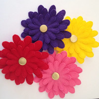 Felt Daisy Flower Pins in Red, Purple, Pink or Yellow.