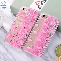 KRY Fashion Liquid Glitter Sand Mobile Phone Cases For iphone 7 Case Flamingo Sequins Plastic Soft Edge for iphone 7 Case