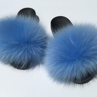 Blue fox fur slides comfy furslippers foxfur women's sandals
