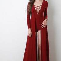 Lace Up Long Sleeve Maxi Romper