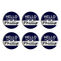 Phillip Hello My Name Is Plastic Resin Button Set of 6