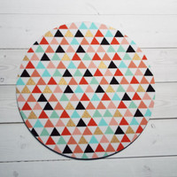 Round Computer Mouse Pad / Mat mousepad - gold triangles