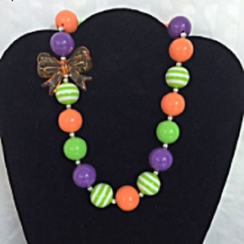 Big Orange Bow Bubblegum Necklace, Baby Chunky Necklace