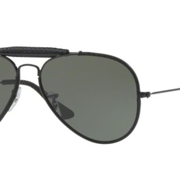 Authentic Ray Ban 0RB3422Q AVIATOR CRAFT 9040 LEATHER BLACK Sunglasses