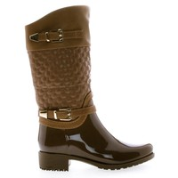 Fatima27K Tan Pu By Link, Children's Girls Mid Calf Quilted Buckled Shaft Rain Boots