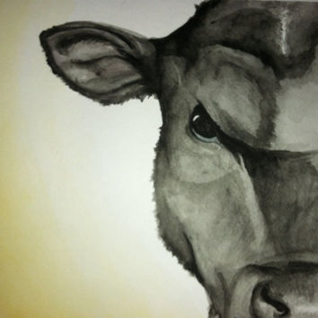 Cow ACEO - Art Print - Watercolor Painting - SamIamArt