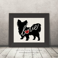 Papillon (Toy Spaniel) Love - Burlap or Canvas / Wall Art Print for Dog Lovers: Great Gift / Personalized (Free Shipping)