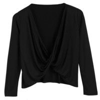 Black Long Sleeve Wrap Front Crop Top
