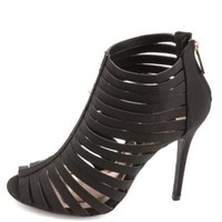 Super Strappy Caged High Heels by Charlotte Russe - Black
