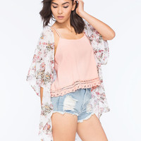 Full Tilt Floral Chiffon Womens Kimono Cream Combo  In Sizes