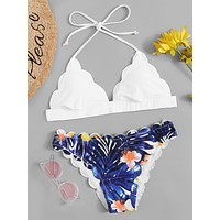 Tropical Print Scalloped Bikini Set