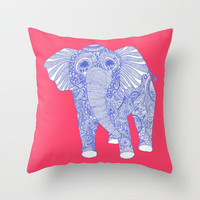 Ornate Elephant Throw Pillow - Double Sided Throw Pillow - Faux Down Insert - Illustrated Pillow Cover