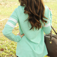 Don't Sweater It Top: Mint/White   Hope's
