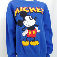 Vintage Mickey Mouse sweatshirt Velva Sheen Disney graphic T shirt Large Made in USA Blue 1990s