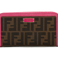 Authentic Fendi Women's zippered Wallet Pink leather and Zucca canvas