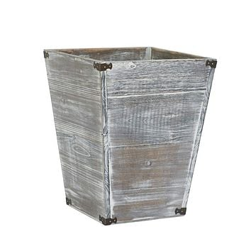 Gray Farmhouse Style Torched Wood Square Waste Bin with Decorative Metal Brackets Trash Can