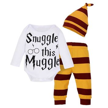 Snuggle this Muggle | Harry Potter Inspired Gryffindor Long Sleeve One Piece Bodysuit Onesuit with Striped Pants and Hat 3-18 Months