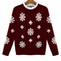 Snowflakes Embroidered Ruffled Collar Long Sleeve Knitted Sweater