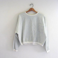 vintage 80s striped pullover shirt. blue and white oversized sweater. cropped shirt. L