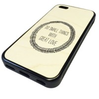 For Apple iPhone 5C 5 C Case Cover Skin Great Things With Love Quote UNIQUE CUSTOM Real Maple Wood Wooden Print DESIGN BLACK RUBBER SILICONE Teen Gift Vintage Hipster Fashion Design Art Print Cell Phone Accessories