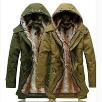 Stylish Mens Warm Cotton-Padded Coat Fur Collar Slim Fit Hooded Thicken Jackets